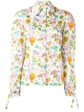 Multicolored Mushroom Print Blouse MULTICOLOR