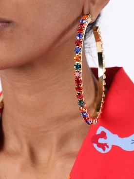 Multicolored embellished hoop earring