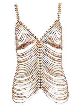 Area - Multicolored Embellished Chain Top - Women
