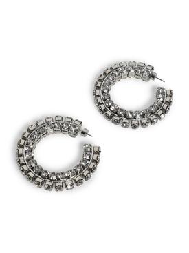 Silver-tone Stacked Crystal Round Hoop Earrings
