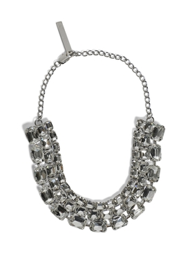 Silver-tone Baguette Crystal Choker Necklace