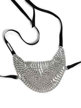 Silver-tone Crystal Fringe Mask Accessory