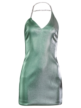 Asymmetrical Crystal Halter Mini Dress, Mint Silver