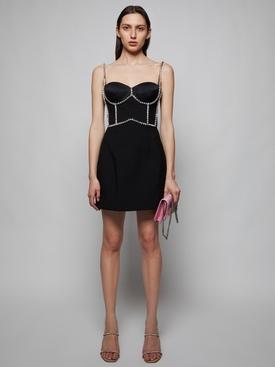 Crystal Stitched Bustier Mini Dress, Black