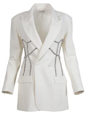 Crystal Stitched Corset Blazer Dress, Ivory