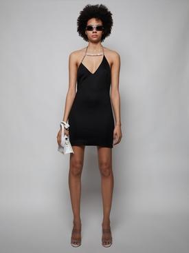 Asymmetrical Crystal Halter Mini Dress, Black