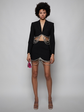Crystal Baguette Cropped Blazer, Black
