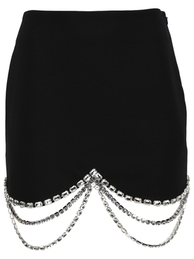 Draped Crystal Scallop Mini Skirt, Black