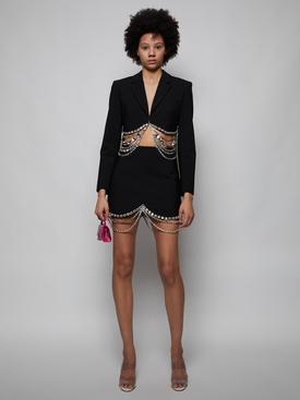 Draped Crystal Scallop Mini Skirt, Black