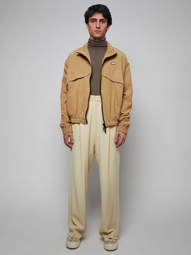 Tan and cream color blocking flight jacket