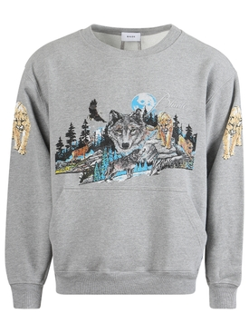 wolf in nature graphic crewneck HEATHER GREY