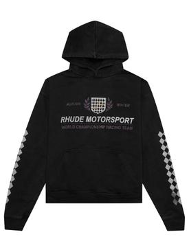 motor crest hooded sweatshirt black