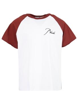 Raglan t-shirt off white and maroon