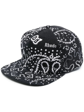 RHEPURPOSED BANDANA PRINT CAP, BLACK