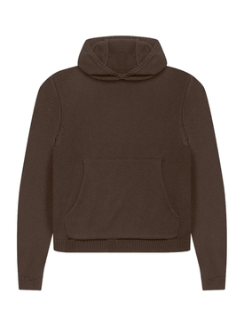 LAZE COTTON-CASHMERE HOODIE, BROWN