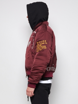 SIGNAL EMBROIDERED BOMBER JACKET, MAROON