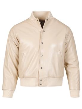 Speedster Leather Bomber Jacket Creme