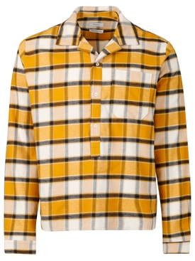 CHECK PRINT CAMP PULLOVER SHIRT YELLOW