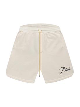 Heavyweight cotton sweat shorts, crème