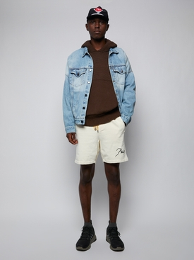 Heavyweight cotton sweat shorts, crème