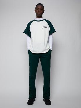 CLASSIC SHORT-SLEEVE RAGLAN T-SHIRT, GREEN AND WHITE