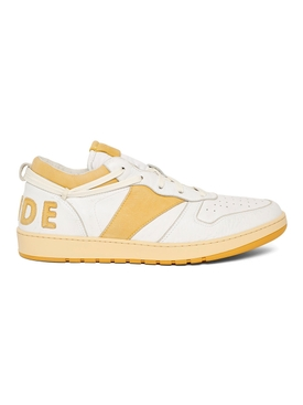 RHECESS LOW-TOP SNEAKER, WHITE AND MUSTARD