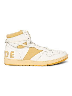 RHECESS HIGH-TOP SNEAKER, WHITE AND YELLOW