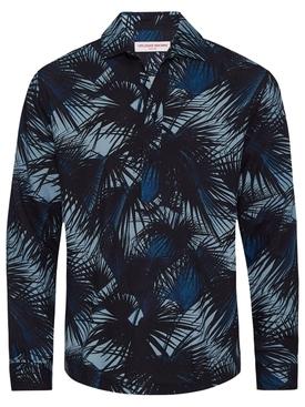 RIDLEY MOONLIT PALMS PRINT SHIRT MAYA BLUE