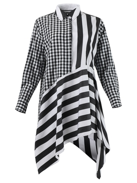 Black and white asymmetric shirt dress