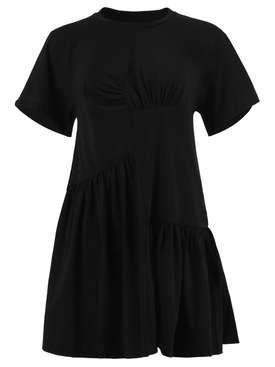 BLACK PANELED GATHERED DRESS