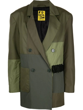 PATCHWORK DOUBLE-BREASTED BLAZER, KHAKI