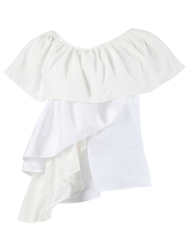 One-shoulder ruffle top, white