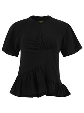 Paneled Gathered T-shirt BLACK