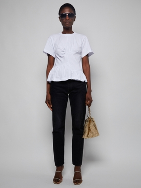 Paneled Gathered T-shirt WHITE