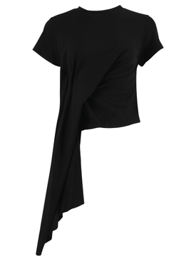 DRAPED CAP SLEEVE T-SHIRT BLACK