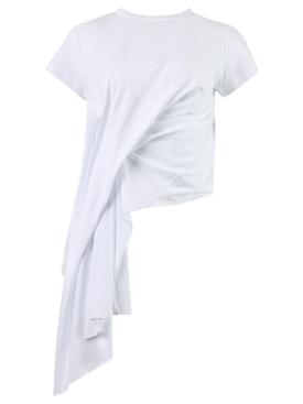 DRAPED CAP SLEEVE T-SHIRT WHITE