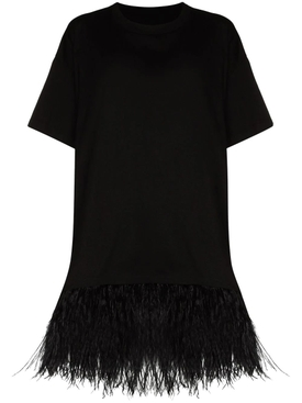 Feather Hem T-shirt, Black