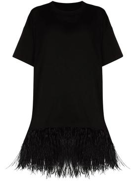 Feather Hem T-shirt, Black