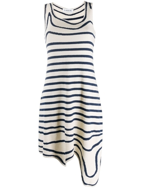 Navy and White Striped Knit Dress