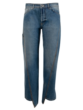 Blue Cropped Asymmetric Jeans