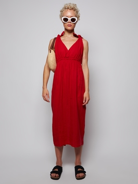 CALYPSO LINEN BLEND MIDI DRESS RED