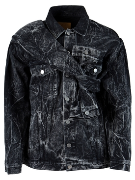 FERRERO ACID WASH DENIM JACKET, BLACK