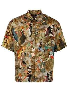 Samurai and calligraphy print Hawaiian shirt, brown
