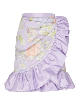Lilac Floral Print Ruffle Skirt