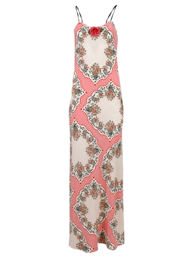 FLORAL BOUQUET PRINTED SILK SLIP DRESS, PINK