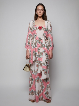PINK FLORAL BOUQUET PRINTED SILK ROBE