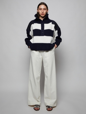 Navy and white striped henley sweater