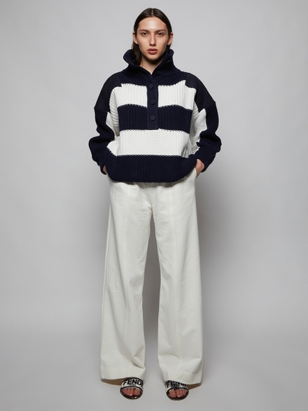 Adam Lippes Navy And White Striped Henley Sweater