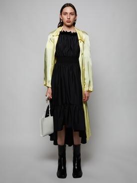 Smocked off-shoulder midi dress, black