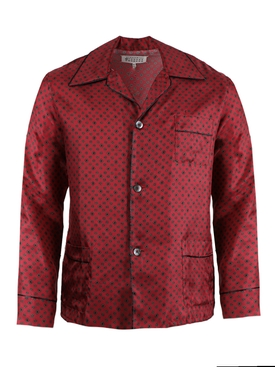 Medallion print pajama shirt BURGUNDY